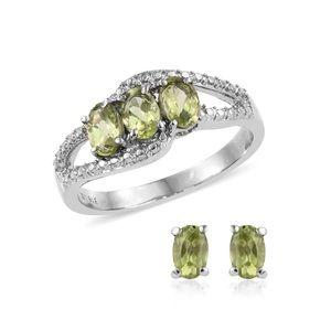 Hebei Peridot Stainless Steel Earrings, Ring